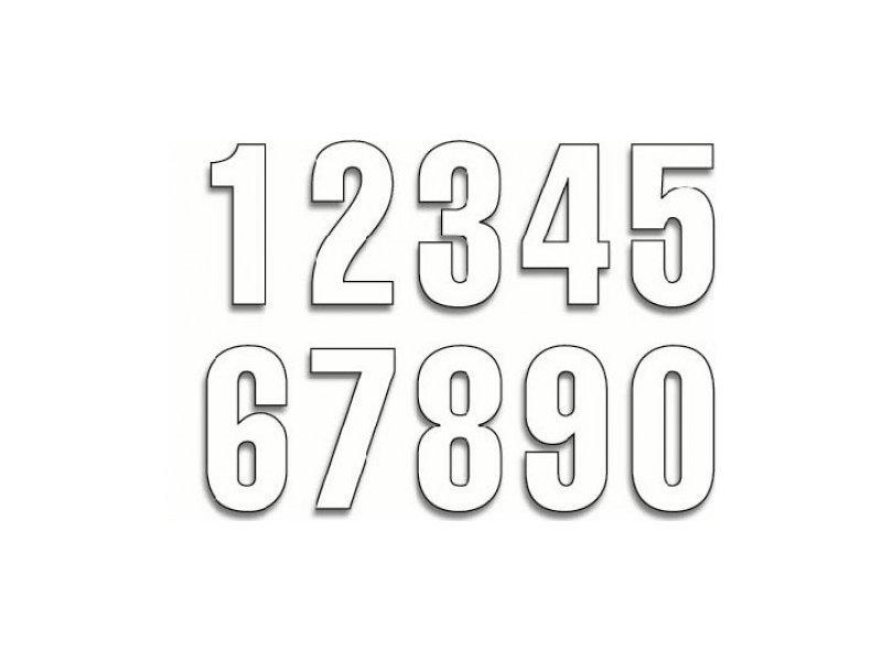 Číslice bílá samolepka samolepící číslo č.0