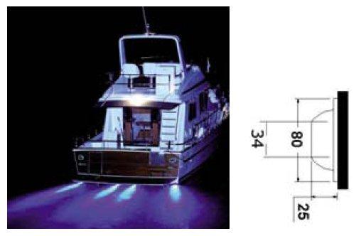 Podvodní LED světlo k lodi - modré 12V/24V