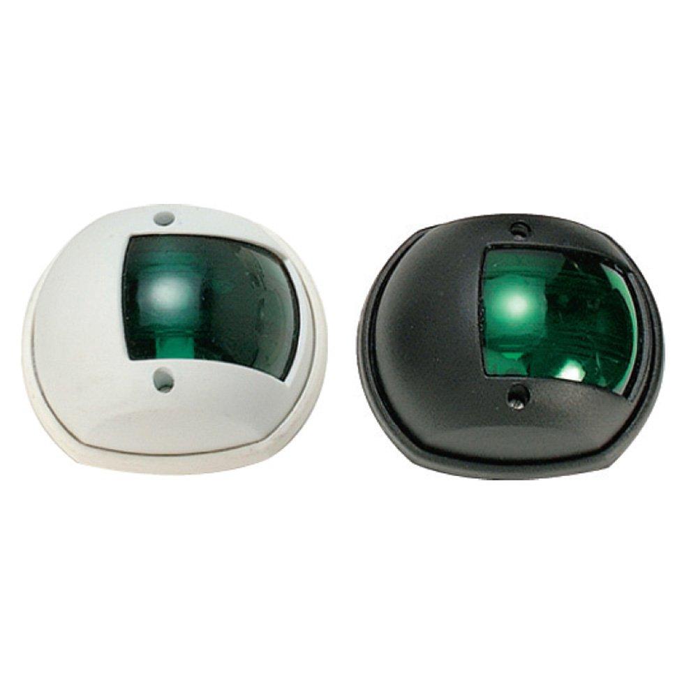 Zelené kulaté navigační světlo s černým plastem